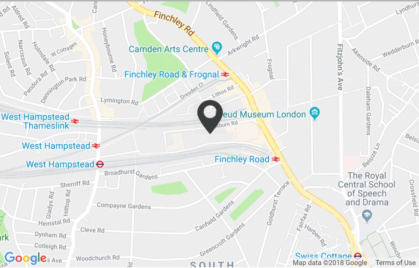 A map of the O2 Centre on London's NW3 Finchley Road