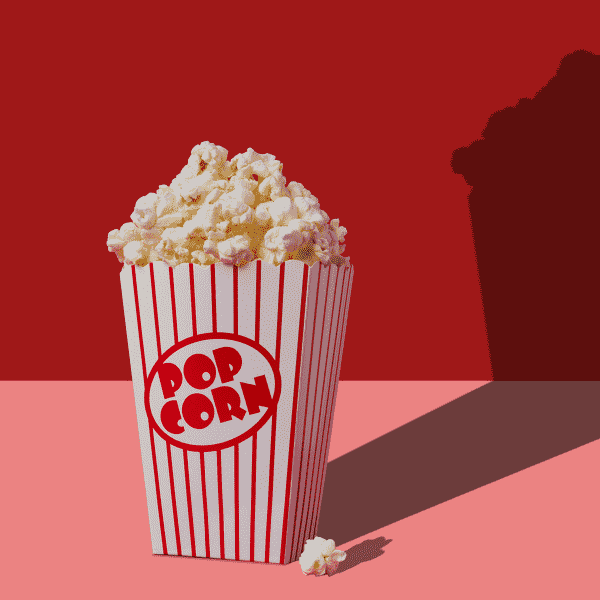 Cinema popcorn in an old-fashioned carton