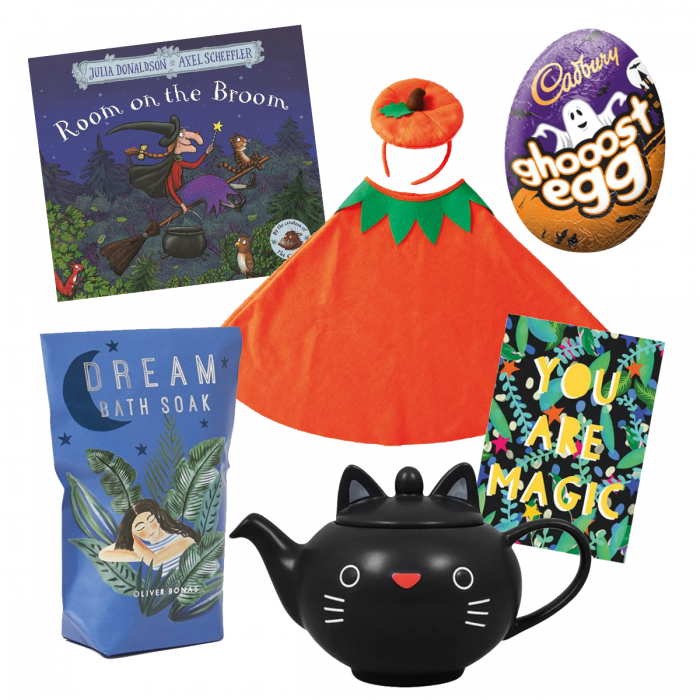 Collage of Halloween products on white background